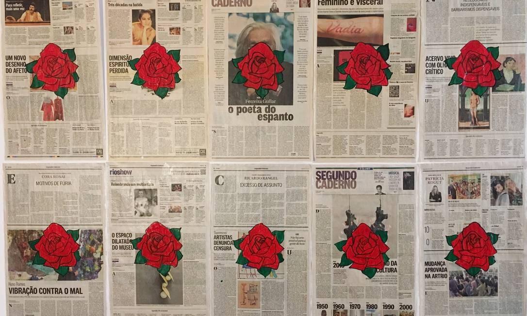 """Na série """"Periódicos"""", exemplares do GLOBO que falam sobre arte também serviram de matéria-prima Foto: Divulgação"""