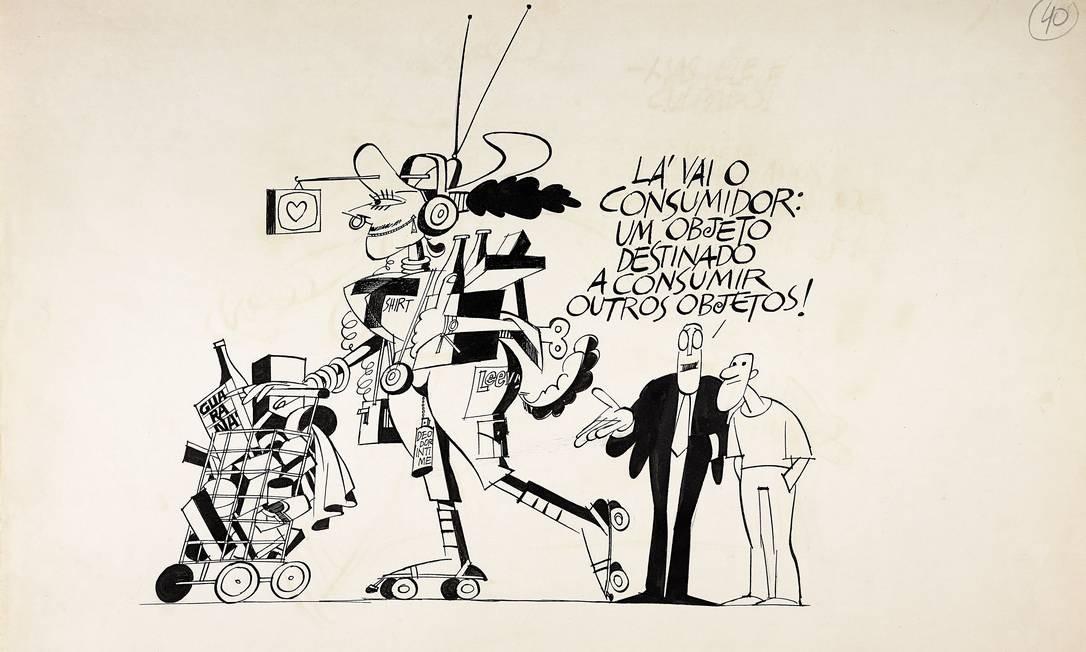 Ziraldo enxergou em tais textos o potencial de charges e criou desenhos que se associassem às palavras Foto: Divulgação
