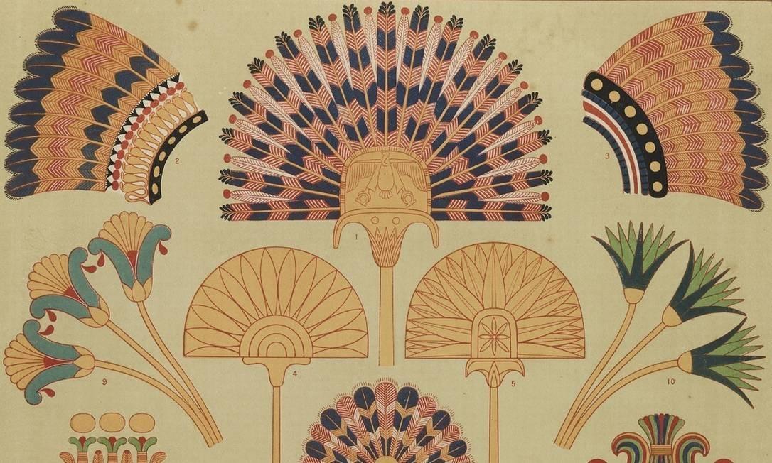 As fotografias estiveram guardadas por quase um século, muitas longe da luz. O trabalho de resgate das mesmas durou décadas. Na foto, Lotus e Papirus, tipo de ornamento egípcio, do livro 'A gramática de Ornamentos', de Owen Jones (1856) Foto: Fabiana dos Santos Lessa Leite