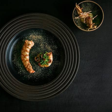 O Tudo Camarão, do Olympe, prato que tem como conceito o aproveitamento total do camarão VG Foto: Tomas Rangel / Divulgação