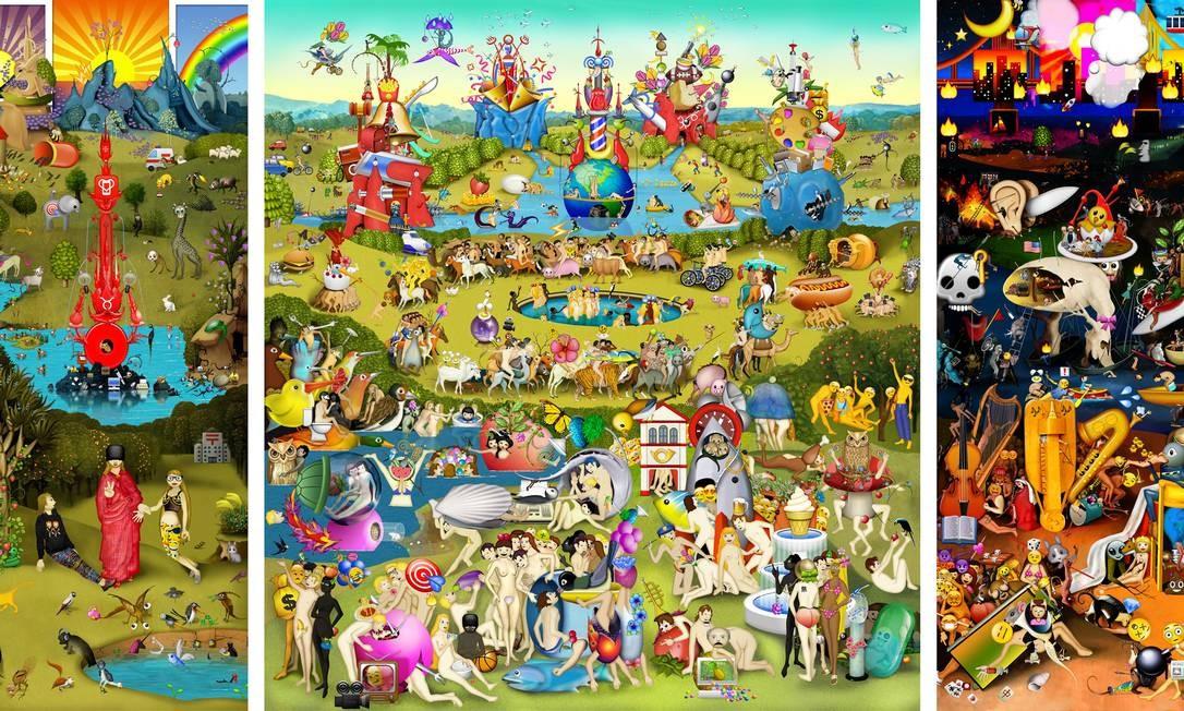 """""""O Jardim das Delícias Terrenas"""" (1503-1515), de Hieronymus Bosch, é invadido por emojis e vira um gif na obra da americana Carla Gannism, """" The Garden of Emoji Delights"""". Divulgação"""