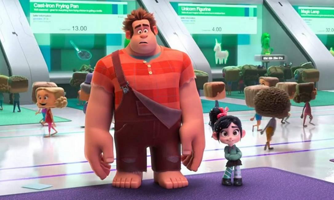 """'WiFi Ralph': quebrando a internet: Indicado na categoria de melhor longa de animação. Na sequência da animação """"Detona Ralph"""", Ralph se aventura pela world wide web para achar uma peça reserva dovideogame Corrida Doce, de Vanellope, e salvá-lo. Foto: Divulgação"""
