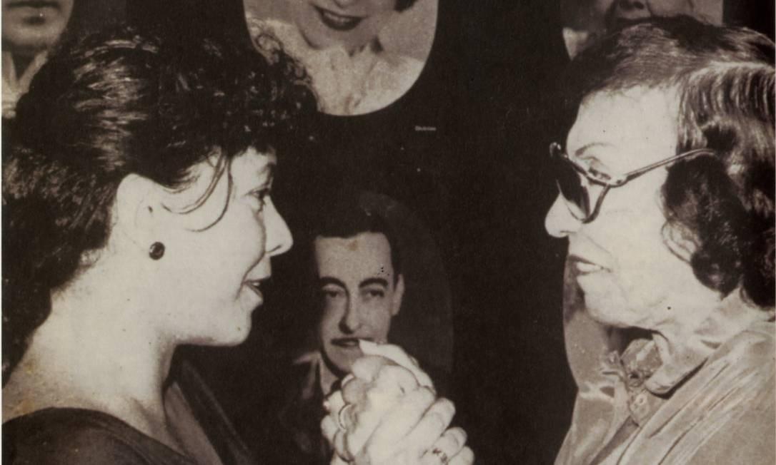 As atrizes Angela Leal, proprietária do Rival, e Dulcina de Moraes, em 1991. Foto: Agência O Globo