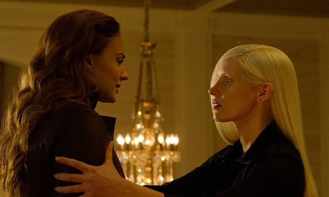 Sophie Turner e Jessica Chastain, que participa pela primeira vez de um filme da Marvel Foto: Divulgação