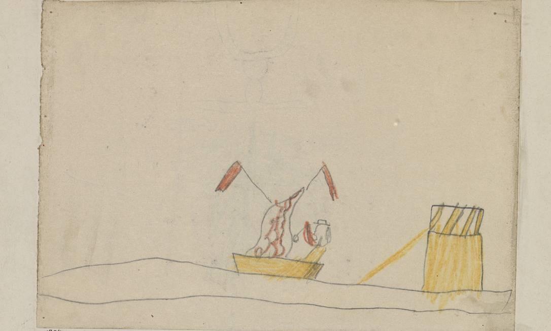 Desenhos e rabiscos feitos em cadernos de escola estão no primeiro salão da mostra Foto: Zentrum Paul Klee