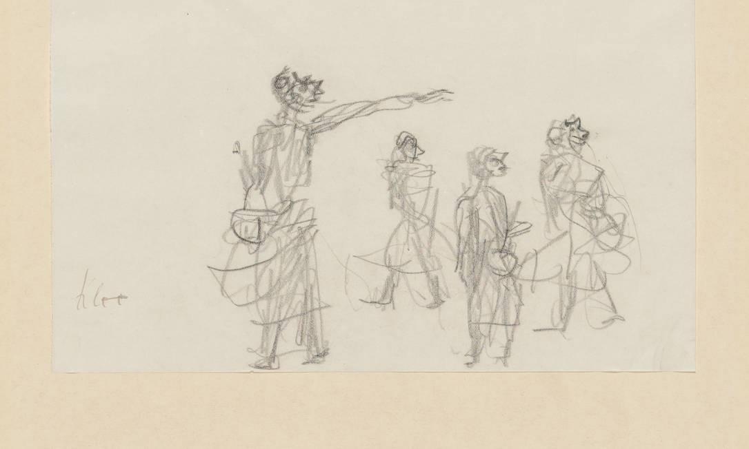 'Acusação na rua', de 1933: um dos desenhos críticos ao nazismo que ascendia Foto: Zentrum Paul Klee