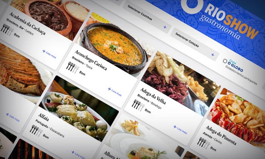 Guia Rio Show de Gastronomia: filtros da versão on-line facilitam a busca Foto: Editoria de Arte