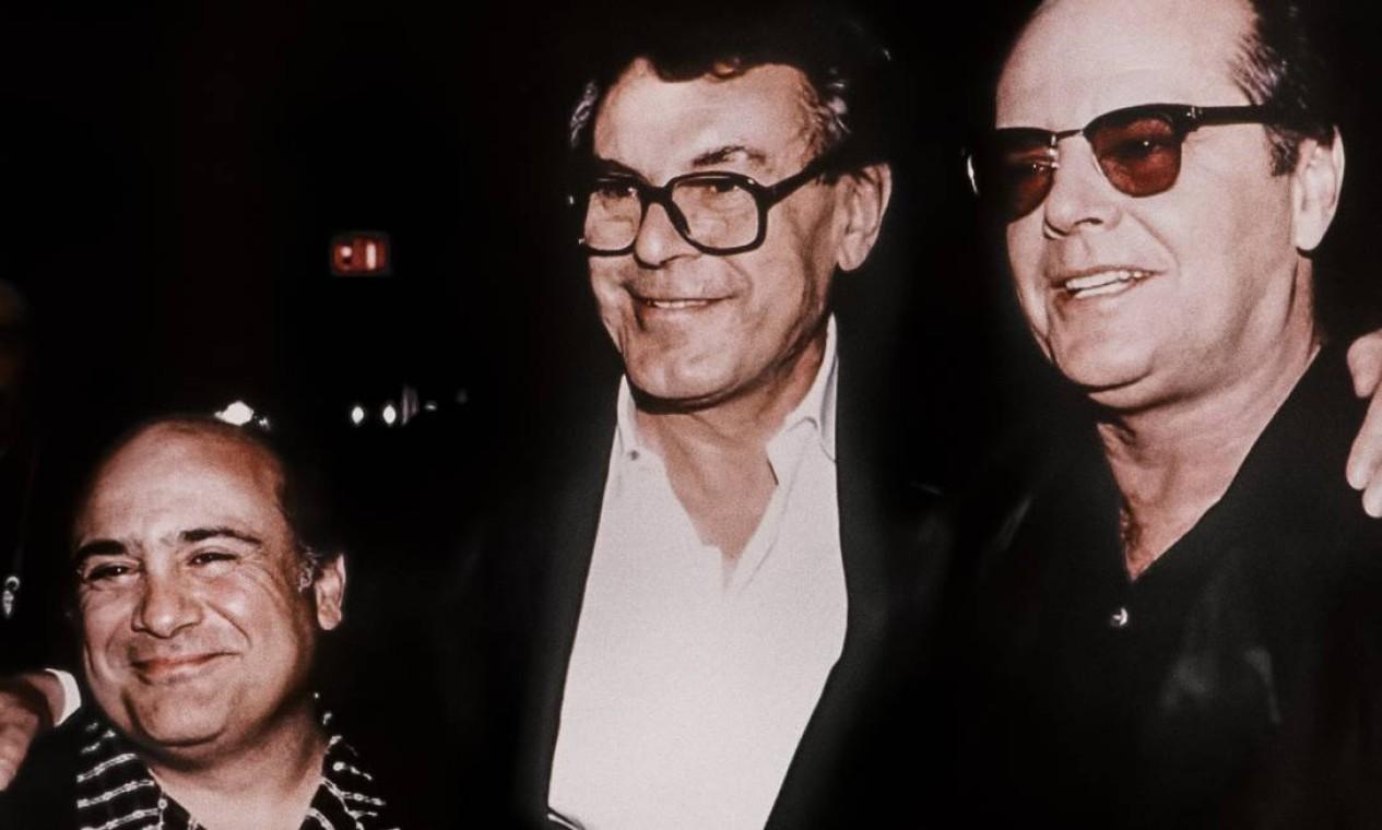Danny DeVito, Milos Forman e Jack Nicholson em cena do doc 'Forman vs Forman', sobre o cineasta tcheco: trio esteve junto em 'Um estranho no ninho'. Foto: Divulgação