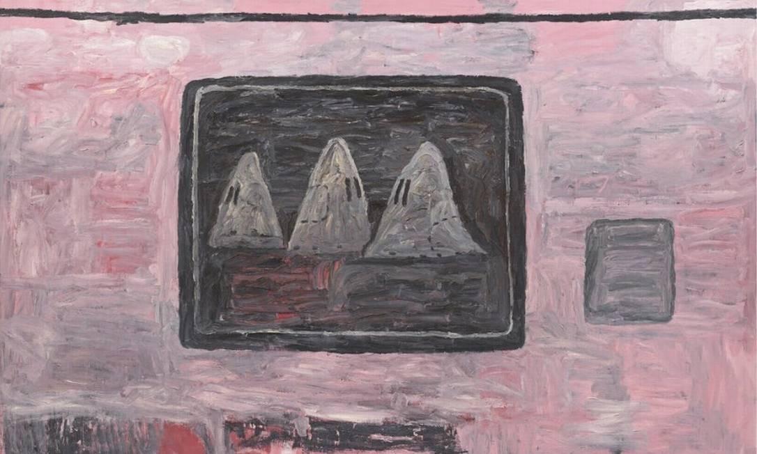 Obra de Philip Guston retrata, com intenção crítica, homens encapuzados da Ku Klux Klan: exposição foi adiada Foto: Reprodução
