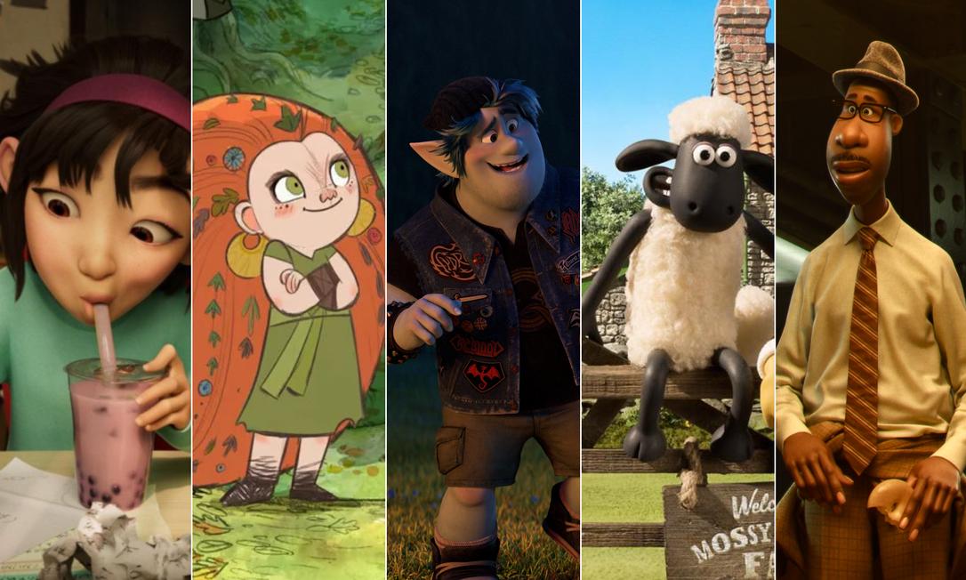 Animações indicadas ao Oscar 2021: da esquerda para a direita, 'A caminho da lua'; 'Wolfwalkers', 'Dois irmãos', 'Shaun, o carneiro' e 'Soul' Foto: Divulgação