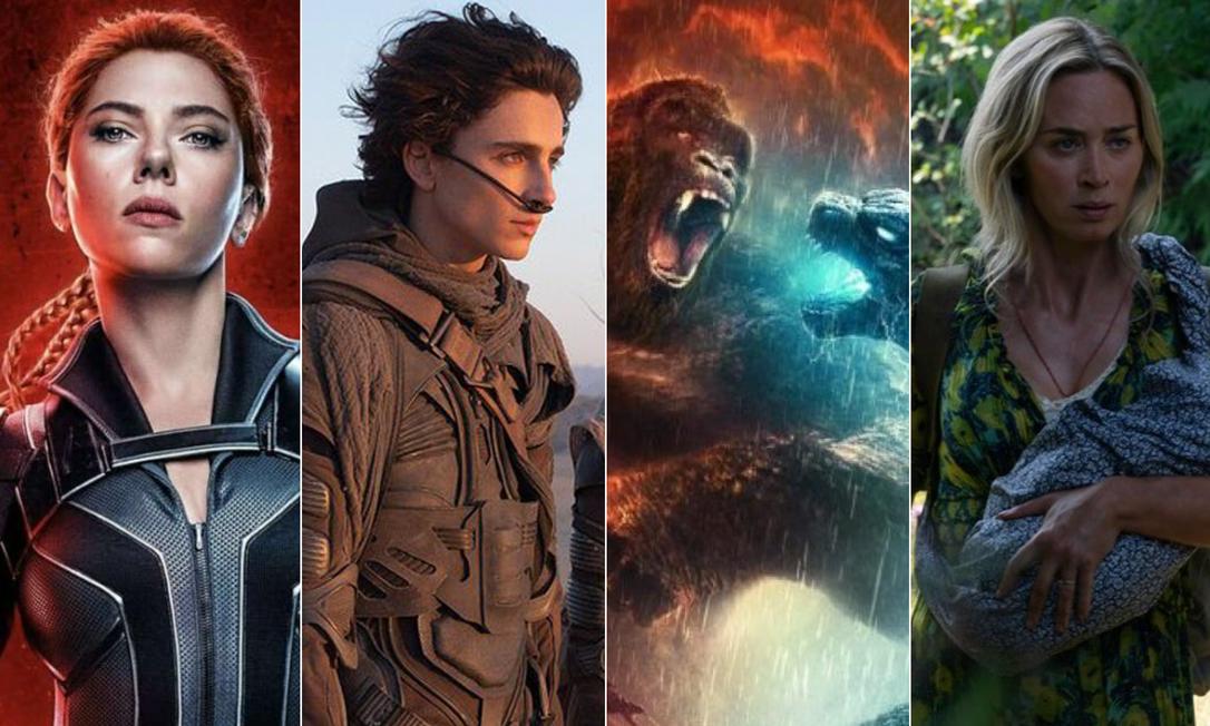Grandes produções de Hollywod previstas para 2021: 'Viúva negra'; 'Duna'; 'Godzilla vs Kong'; e 'Um lugar silencioso — Parte II' Foto: Divulgação