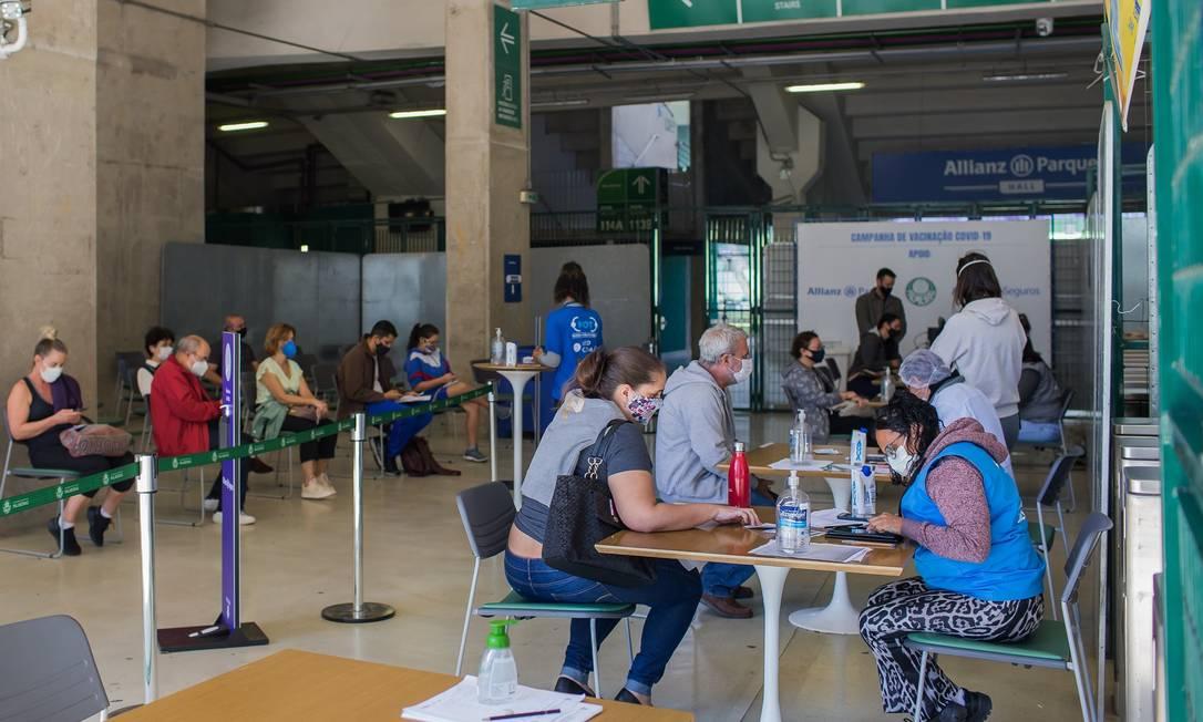 Posto de vacinação contra o novo coronavírus no Allianz Parque (14-6-21) Foto: Edilson Dantas / Agência O Globo