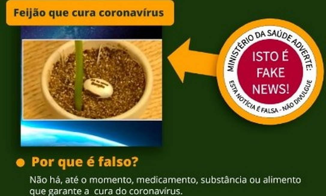 Alerta que estava no site do Ministério da Saúde contra falsa cura da Covid Foto: Reprodução